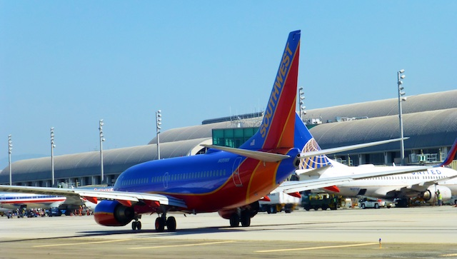 Southwest Airlines taxing ahead of us at John Wayne Airport, Orange County, Southern California