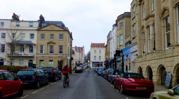 The streets of Clifton, Bristol, England in February