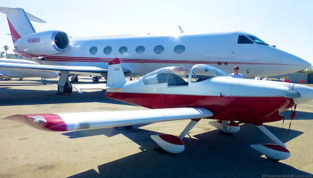 Vans RV6A looking tiny parked next to a Gulf stream G5