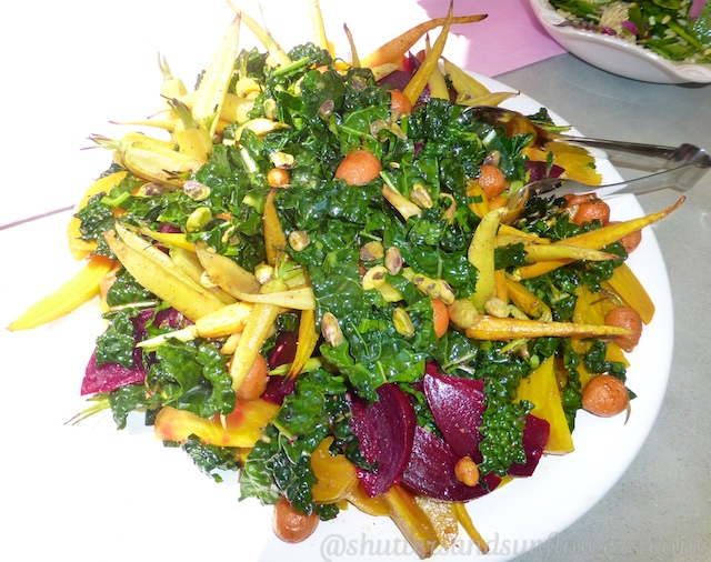 Kale, beet & carrot salad at a Californian bridal shower