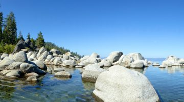 The shore line of East Shore Lake Tahoe, California