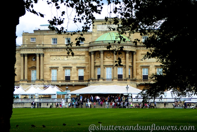 A glimpse of Buckingham Palace, London from the garden
