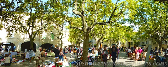 Brocante in Place aux Herbes,Uzes, France