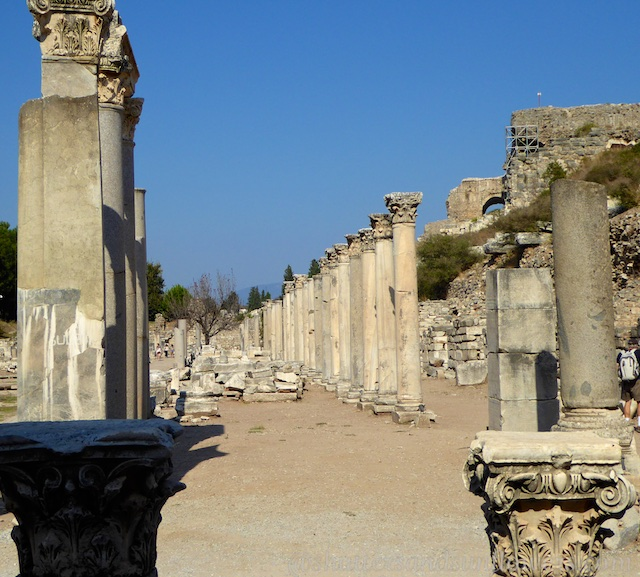 Columns and ruins of the Commercial Market of Ephesus, Turkey