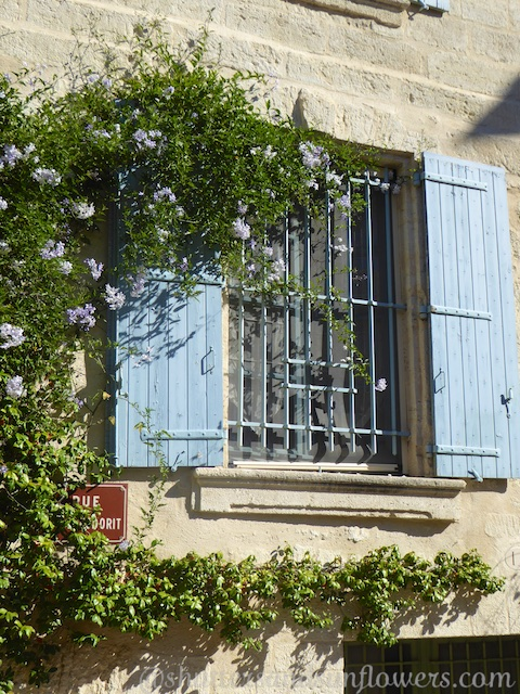 Open Provencal shutters in Uzes, Languedoc Roussillon