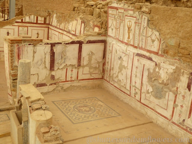 Paintings and frescos in the Terrace Houses of Ephesus,Turkey