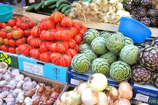 Fresh produce in the Uzes market