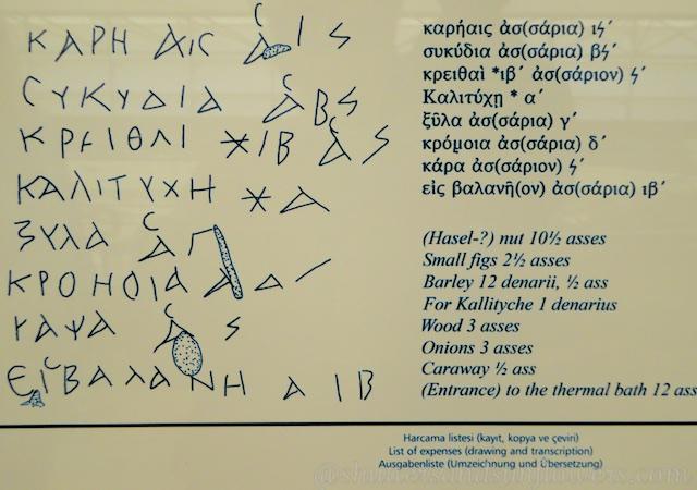 Grafitti shopping list In the Terrace houses of Ephesus, Turkey