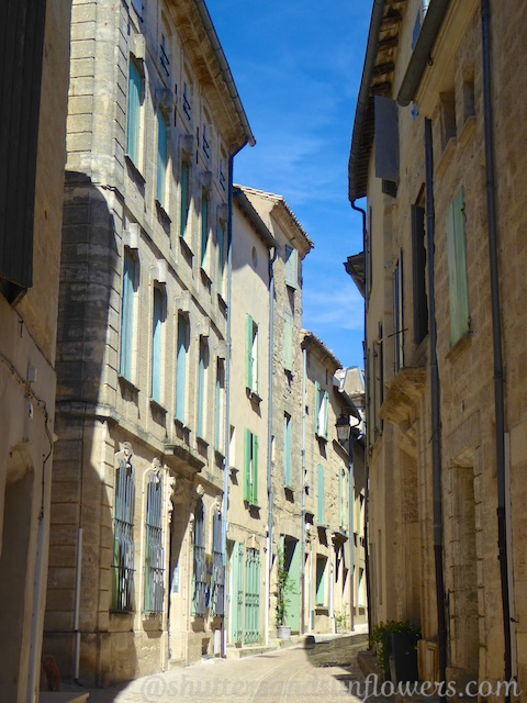Shuttered buildings in Uzes, Languedoc Roussillon, France