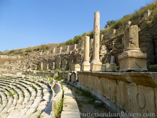 The seating and columns at the Stadium at Magnesia, Turkey
