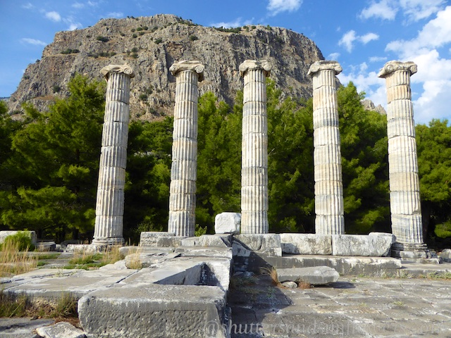 The Temple of Athena at the Greek ruins of Priene, Turkey