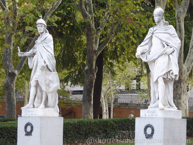 The Statues in Plaza Oriente, Madrid, Spain