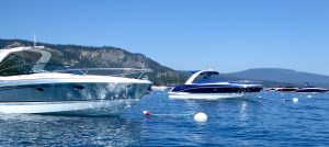 Speed boats on Lake Tahoe, California, USA