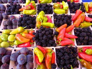 chilis,blackberries, figs,Tahoe City Farmer's Market, Lake Tahoe, California, USA