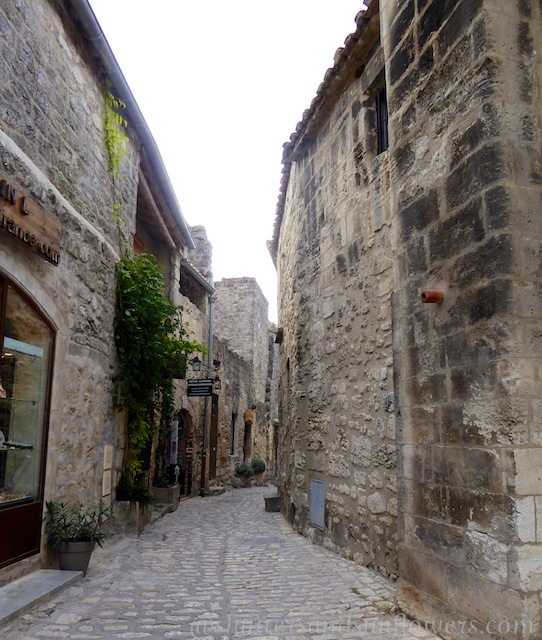 Cobbled streets of the Provencal perched village of Les Baux-de-Provence