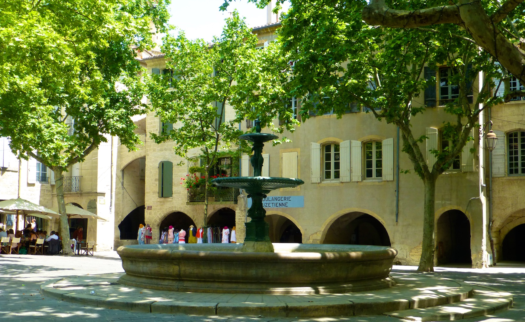 The fountain in Place aux herbes, Uzes, Languedoc Roussillon, France