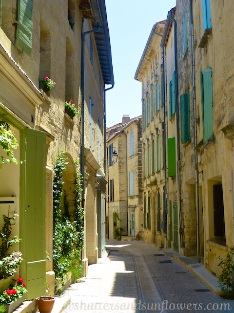Cobbled streets and shutters of Uzès,