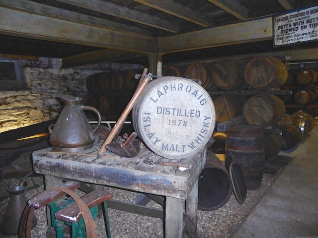 Laphroaig American bourbon whisky casks at Laphroaig, Islay, Scotland