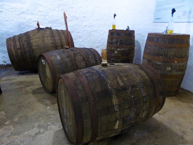 Whisky casks at Laphroaig