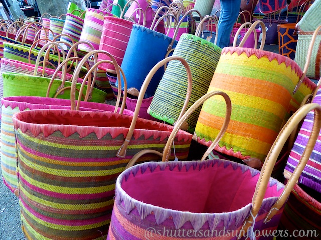 Provencal baskets in Lourmarin's Friday market, Luberon, Vaucluse, Provence, France