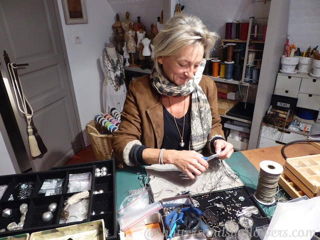 Valerie making her jewelry at Mizso, Lourmarin, Luberon, Provence, France
