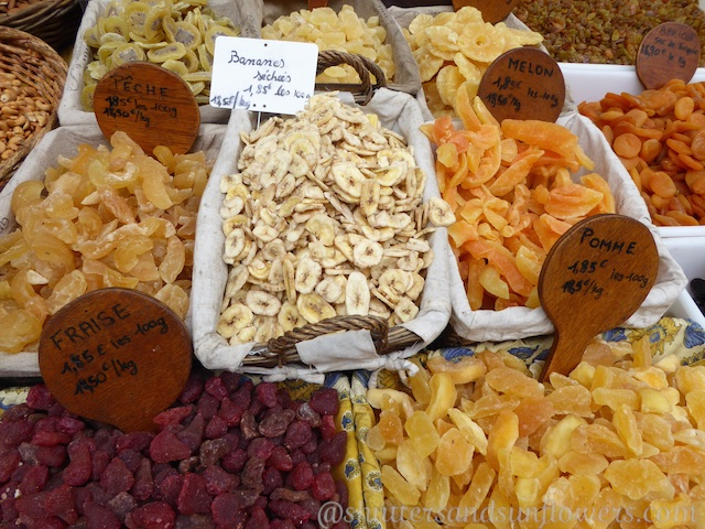 dried fruit at Gordes Tuesday market