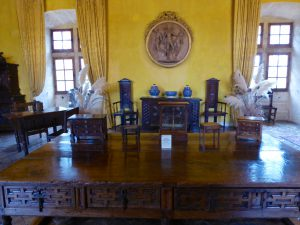 The Lourmarin Château reception room with some of Laurent Vibert's antique collection