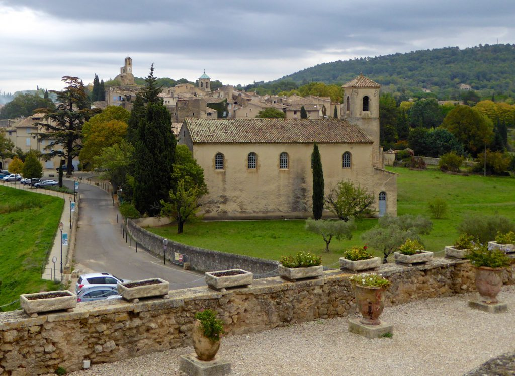 View from the courtyard at Lourmarin chateau, Lourmarin, Luberon, Vaucluse, Provence France