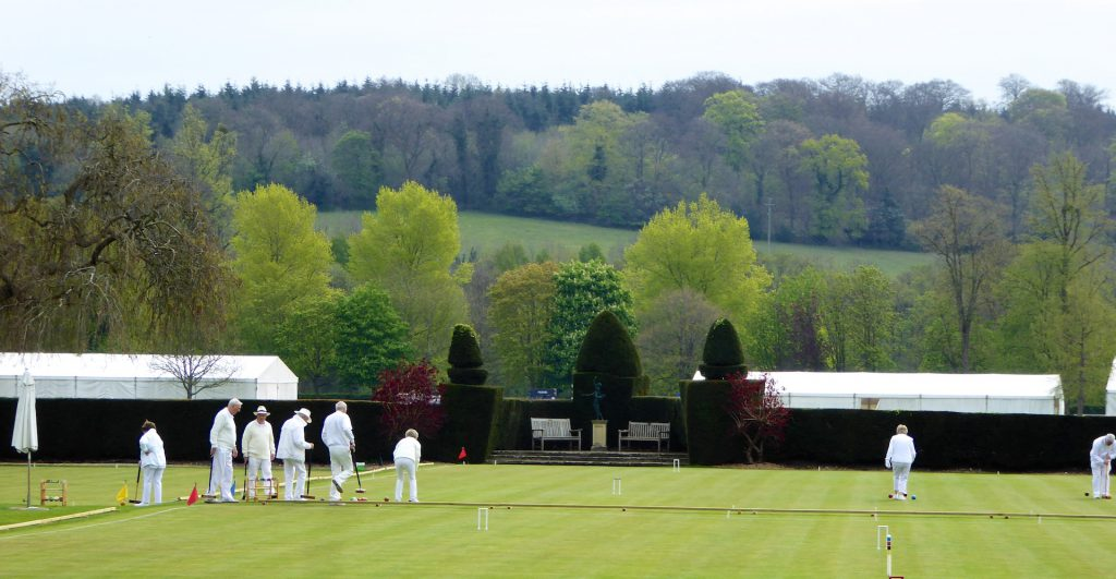 Springtime in England playing lawn bowls