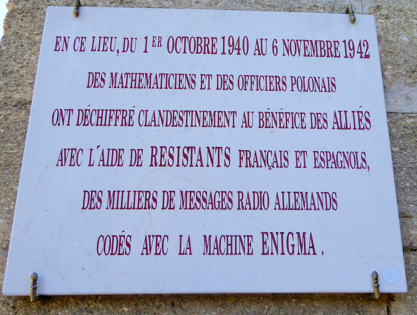 Commemorative plaque to the Polish code breakers, outside Château des Fouzes, Uzes, France, who first cracked the Enigma code