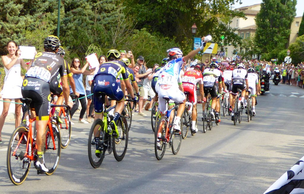 Cyclists in Lourmarin, Tour de France 2017