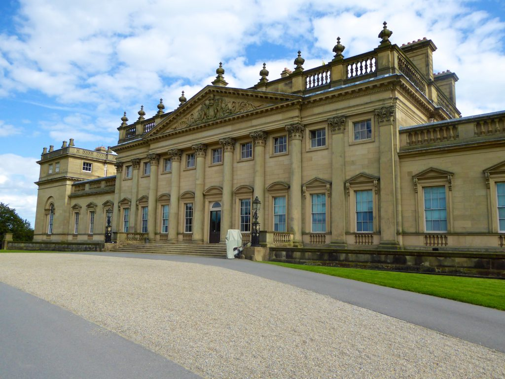 Front of Harewood House, Yorkshire, England, film location for 'VICTORIA'