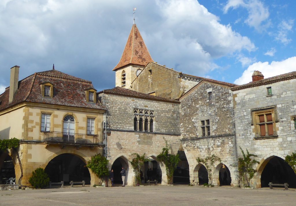 The square in Monpazier, Perigord, France