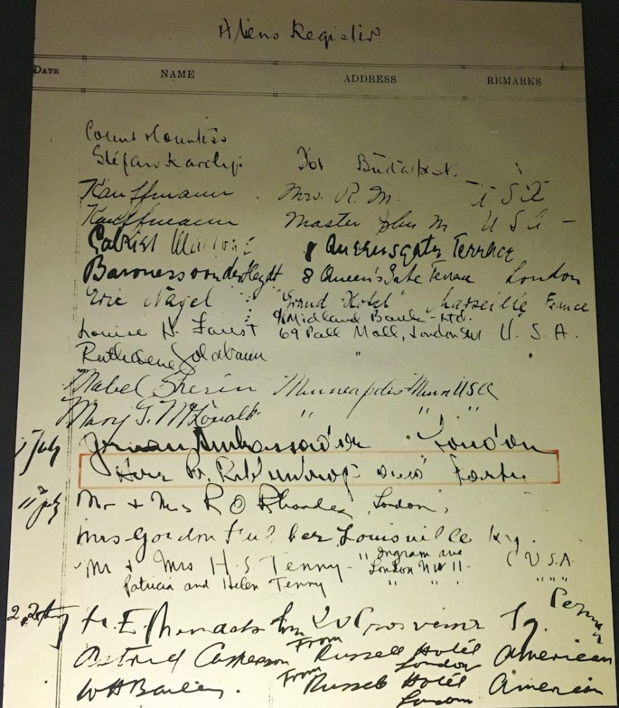 Von Ribbentrop's signature on The Spread Eagle Hotel's Register July 1939, Midhurst, Sussex England
