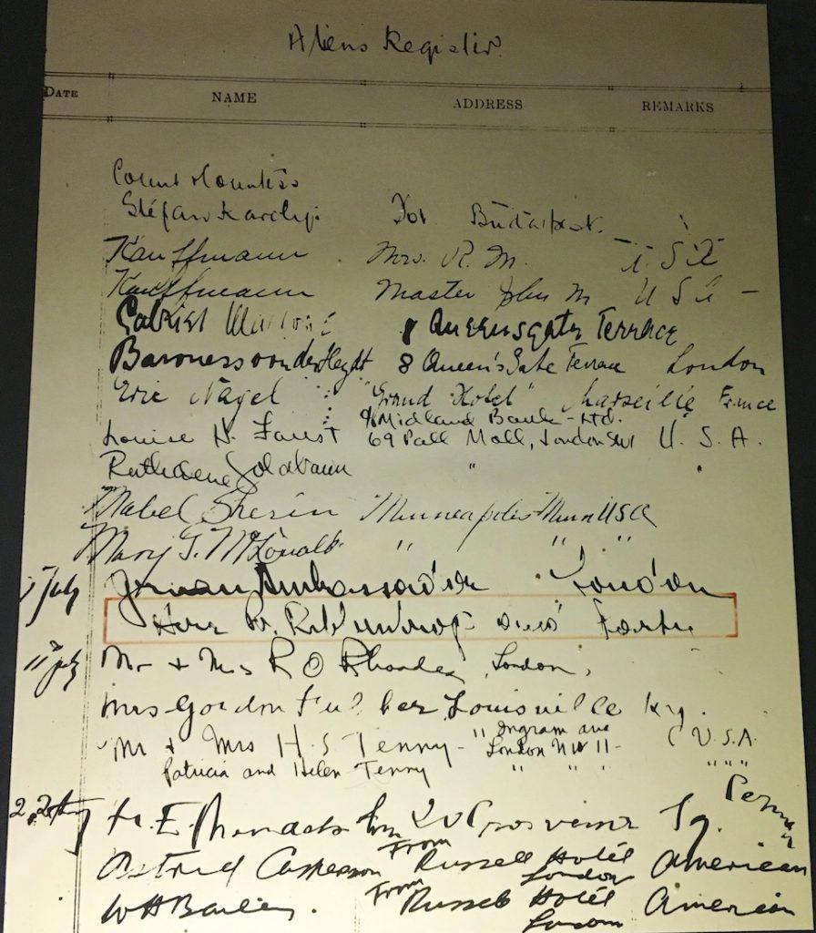 Von Ribbentrop's signature on The Spread Eagle Hotel's Register July 1939, Midhurst, Sussex England
