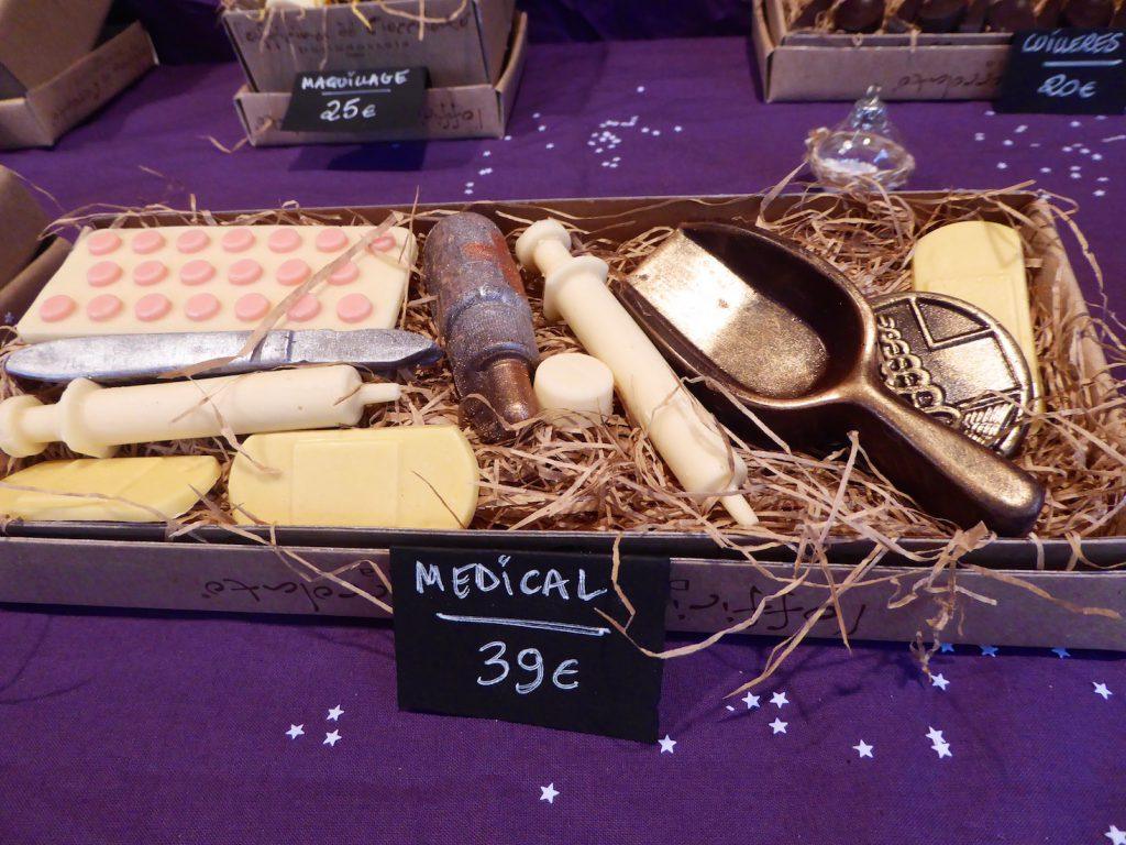 Marché de Noël chocolate stall in Aix en Provence, Bouche du Rhone, Provence, France