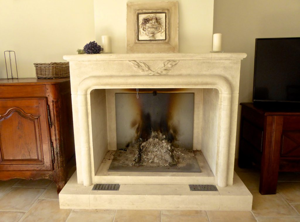 Lourmarin fireplace in our house in Provence