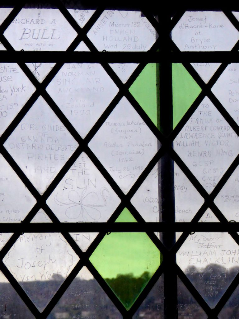 Engraved window panes in Salisbury Cathedral, Salisbury,Wiltshire, England