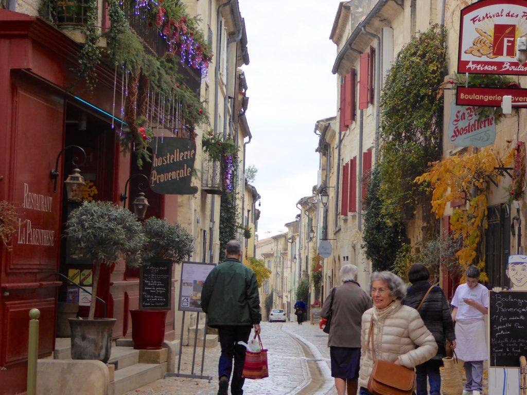Rue du Grand Bourgade, Uzes at Christmas, Languedoc Roussillon, France