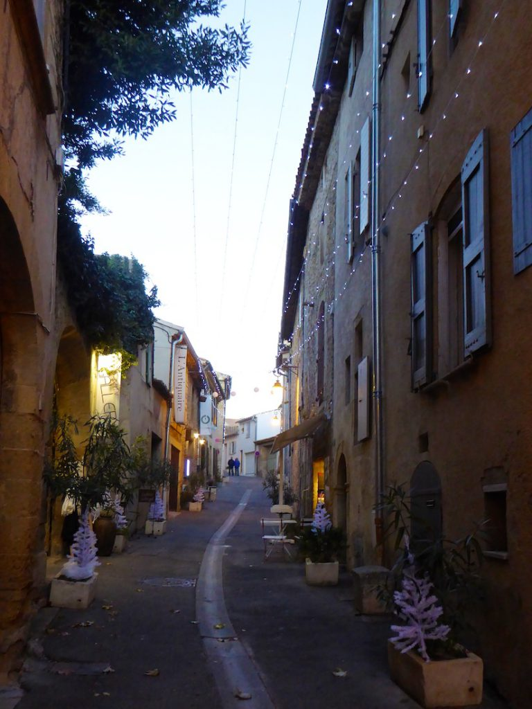Rue du grand pre Lourmarin at Christmas in the Luberon, Vaucluse, Provence, France