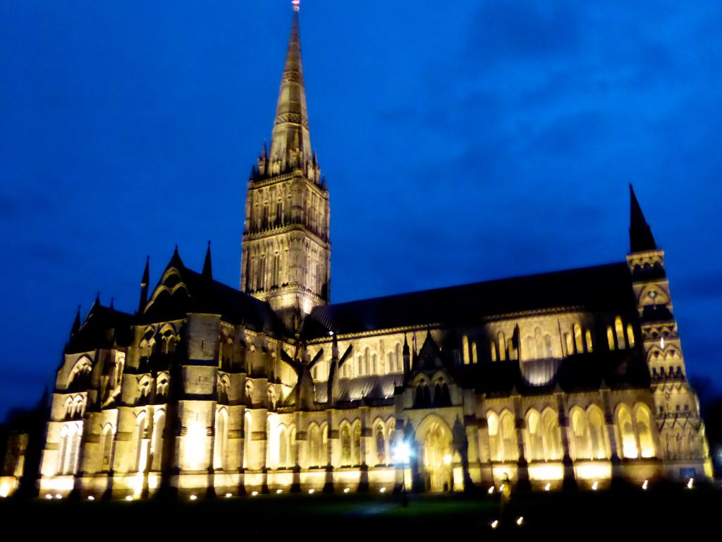 Salisbury Cathedral at dusk, Wiltshire, England