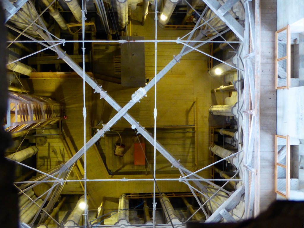 Salisbury cathedral a view down the tower of medieval structure & scaffolding