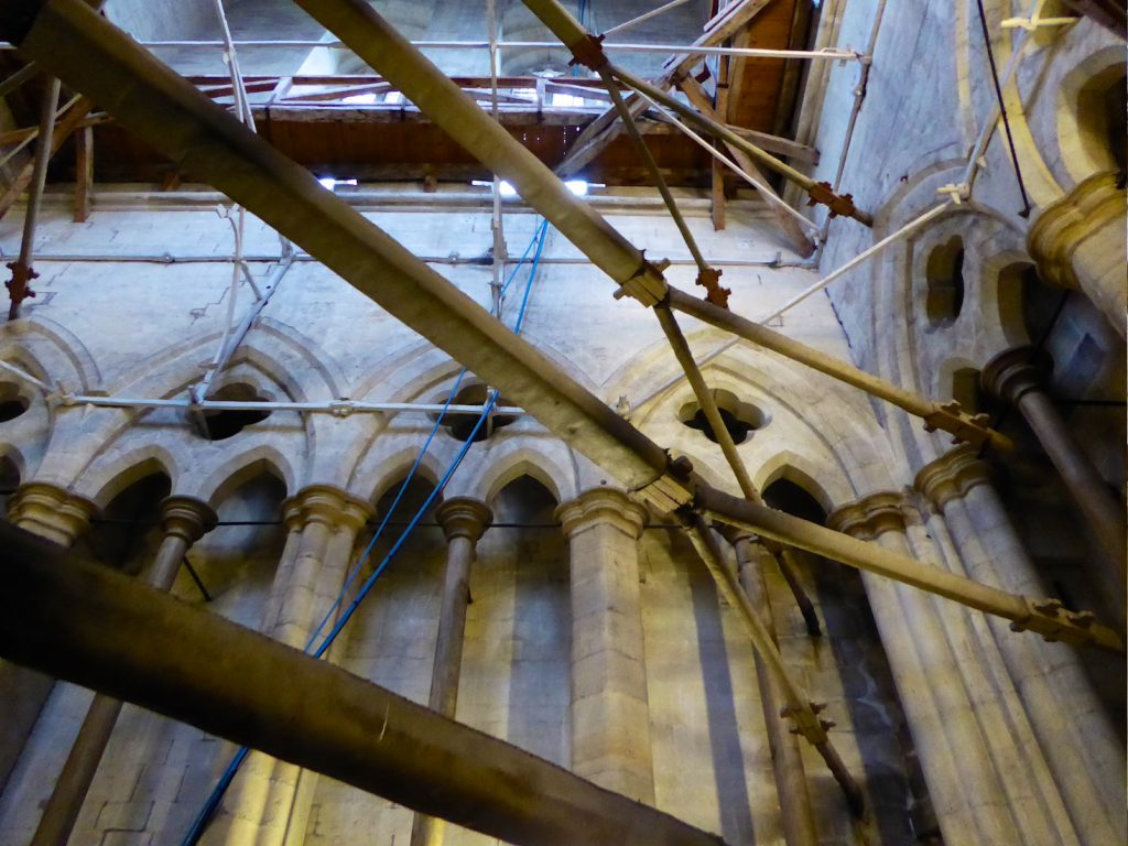 Salisbury cathedral medieval tower scaffolding, Salisbury, Wiltshire, England