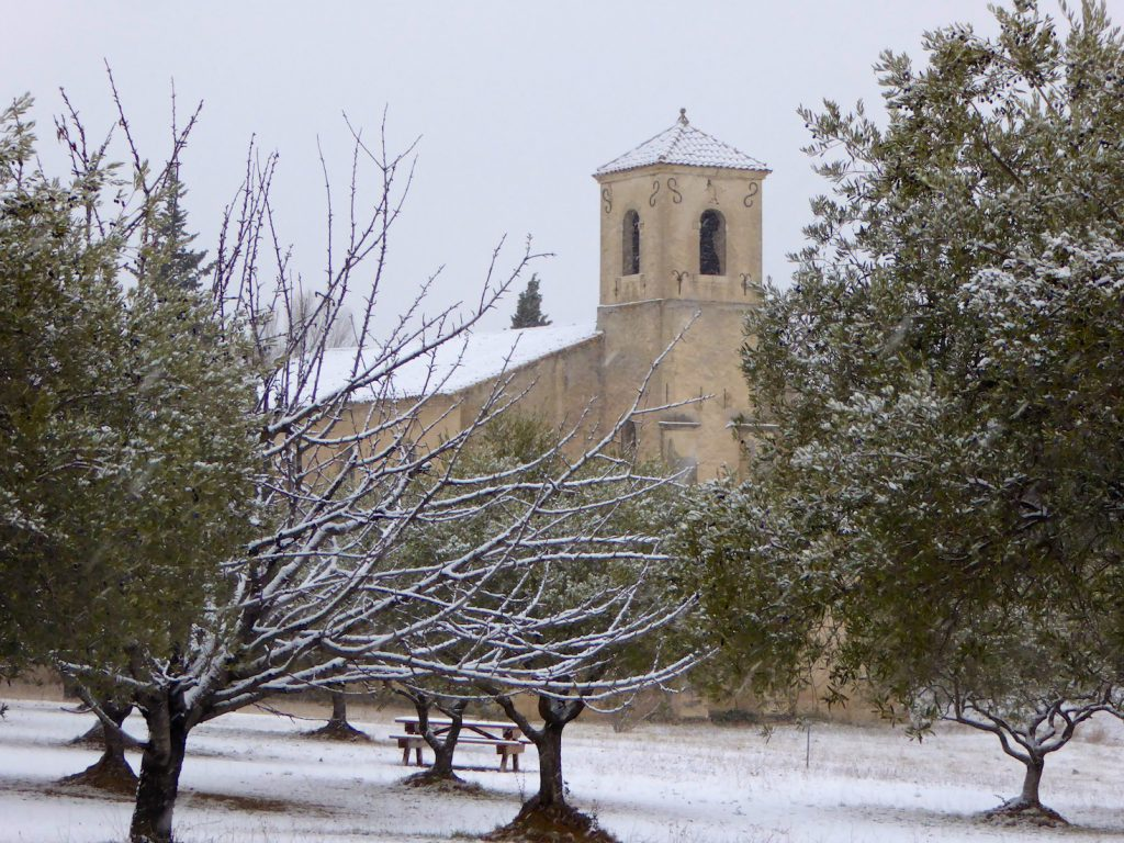 Snow by the Temple in Lourmarin, Luberon, Vaucluse, Provence, France