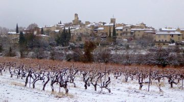 Snow for Christmas in Lourmarin, Luberon, Vaucluse, Provence