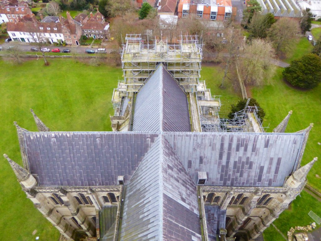 View of Salisbury cathedral's roof from top of the Salisbury cathedral tower, Salisbury, Wiltshire, Englan