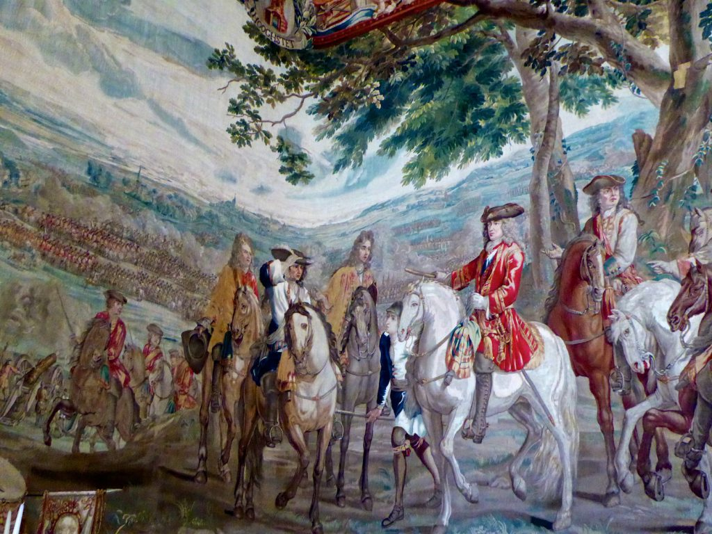 Tapestry of the Battle of Blenheim which hags at Blenheim Place Woodstock, Oxfordshire