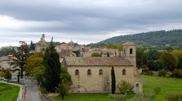 Winter's view from the courtyard at Lourmarin chateau, Lounrarin, Luberon, Provence in the rain