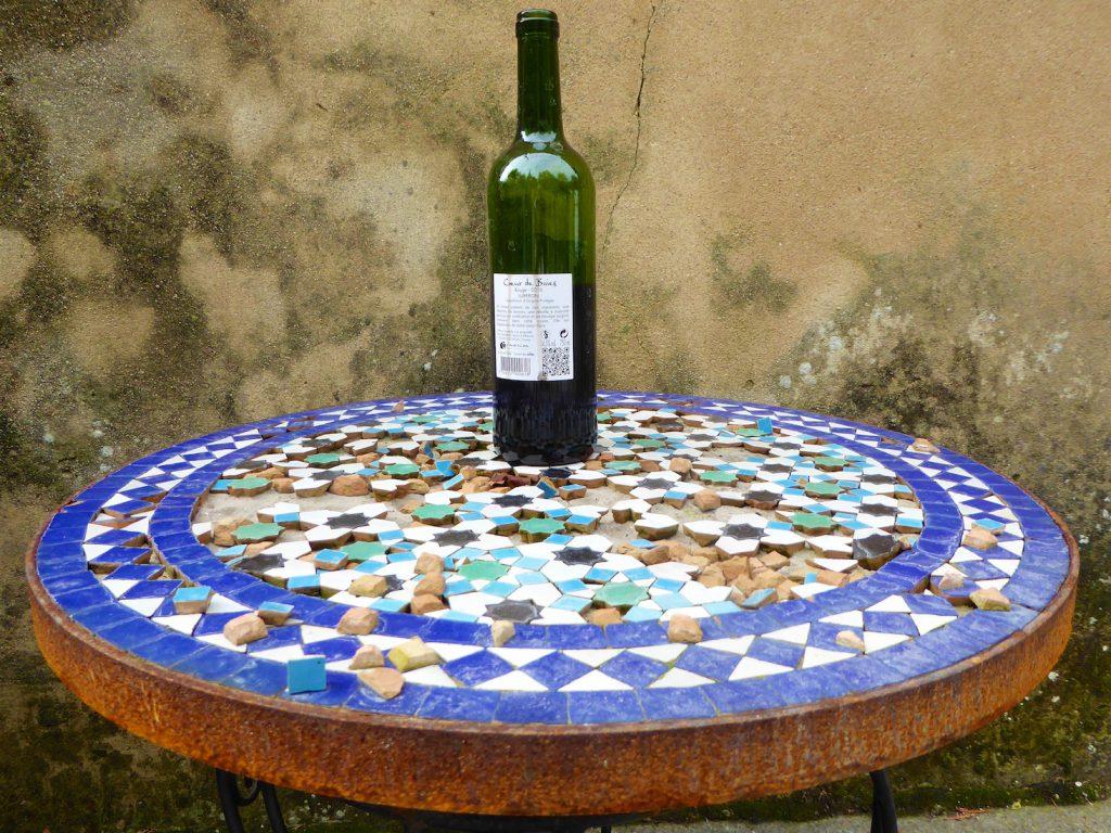Wine bottle in Lourmarin, Luberon Provence in winter