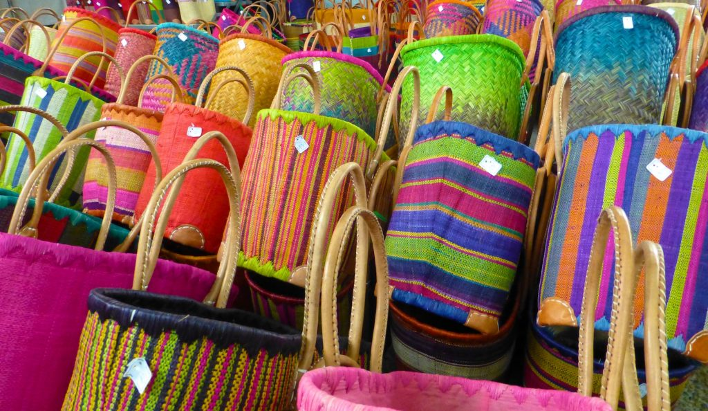 Baskets for sale in the Lourmarin market, Provence, France